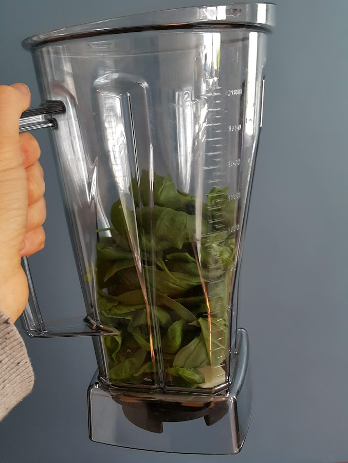 basil and tofu pesto made in a blender